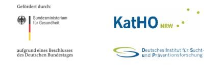 Gefördert durch das Bundesministerium für Gesundheit auf Grund eines Beschlusses des Deutschen Bundestags | KatHO NRW - Deutsches Institut für Sucht und Präventionsforschung (DISuP)